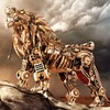 Robots digital art lions mechanical creature HD wallpaper