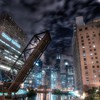Raised drawbridge on the chicago river HD wallpaper