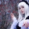 Brown eyes white hair dress pale skin HD wallpaper