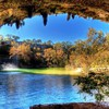 Stupendous waterfall at a cave hdr HD wallpaper