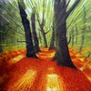 Trees autumn web drawings motion blur HD wallpaper