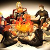 Steve rogers clint barton campfire fan art HD wallpaper