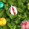 Trees multicolor balls christmas stripes HD wallpaper