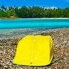 Yellow boat in rarotonga south pacific HD wallpaper