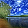 Clouds nature trees rivers skies sky HD wallpaper