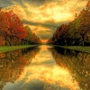 Long pond in a lovely park hdr HD wallpaper