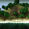 Water mountains minecraft herobrin skyscapes HD wallpaper