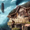 Houses men rocks fantasy art fishing HD wallpaper