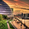 Modern building on riverfront in london hdr HD wallpaper