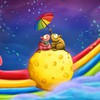 Cheese rainbows umbrellas mice HD wallpaper