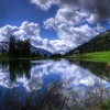 Berge Wolken Landschaften Natur Bäume Seen skyscapes Reflexionen  HD wallpaper