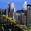 The chicago river at night HD wallpaper