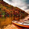 Boats on the riverbank HD wallpaper