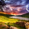 Sunset moonlight at the same time HD wallpaper