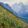 Paintings mountains landscapes flowers HD wallpaper