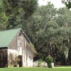 Spanish moss by old barn HD wallpaper