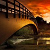 Sun bridges rivers sunset HD wallpaper
