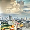 Clouds above city hdr HD wallpaper