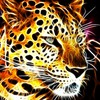 Fractalius shining glowing leopards black background fractal HD wallpaper