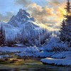 Paintings mountains landscapes winter snow artwork HD wallpaper