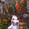 Lucifer autumn cliffs falls green HD wallpaper