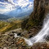 Waterfall to a stream down the valley hdr HD wallpaper
