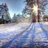 Country house on a sunny winter day hdr HD wallpaper