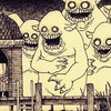 Monsters monochrome artwork traditional art john kenn HD wallpaper