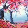 Autumn red forest painting HD wallpaper