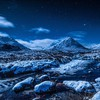 Lovely stream under stars in winter HD wallpaper