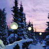 Landscapes nature winter snow lamps evening HD wallpaper