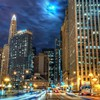 Beautiful chicago at night hdr HD wallpaper