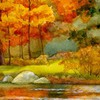 Autumn river watercolor HD wallpaper