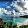 Clouds landscapes nature beach seychelles HD wallpaper