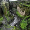 Iceland canyon cliffs gray green HD wallpaper