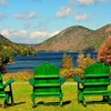 Chairs at jordan pond HD wallpaper