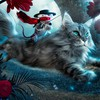 Flowers cats digital art mice creative HD wallpaper
