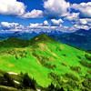 Clouds hills landscapes mountains panorama HD wallpaper