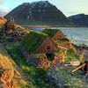 Rocks iceland icelandic sea shorelines turf house HD wallpaper