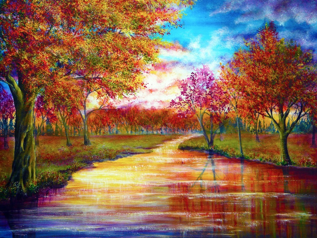 Trees September Rivers Vibrant Colors Wallpaper