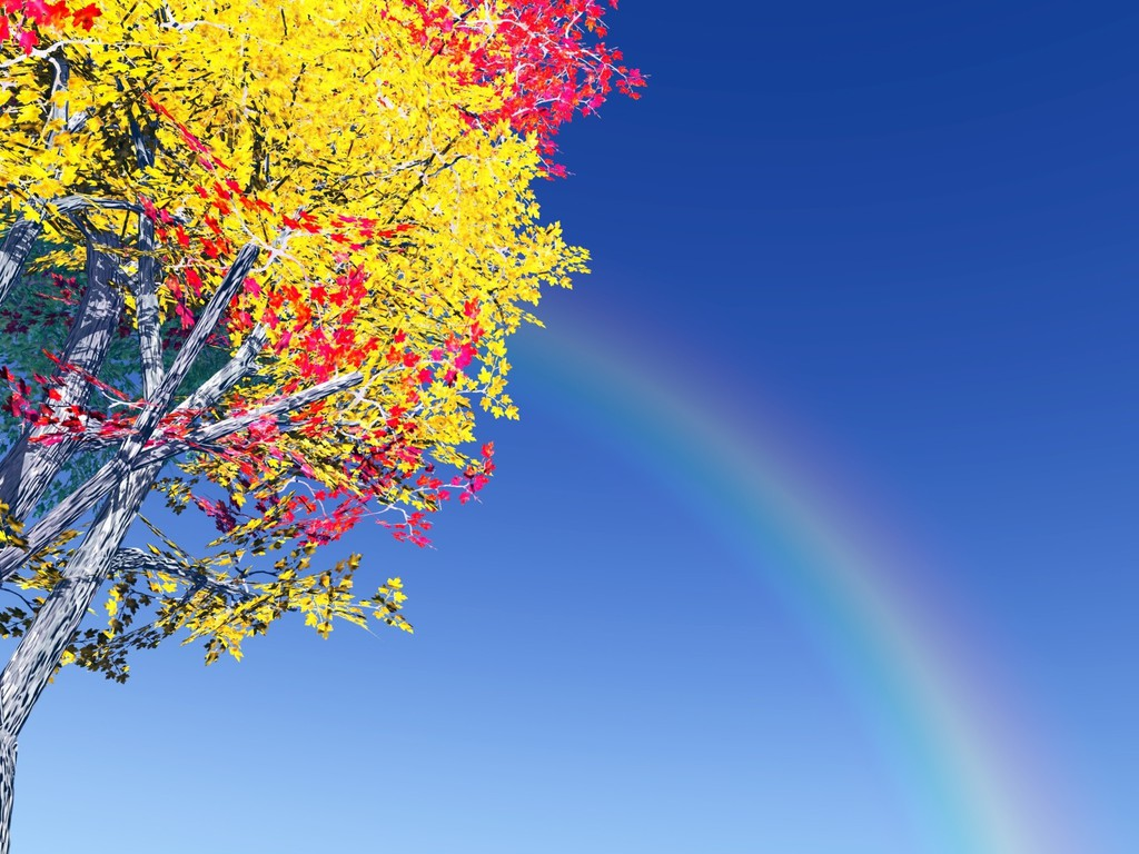 colorful tree and rainbow wallpaper