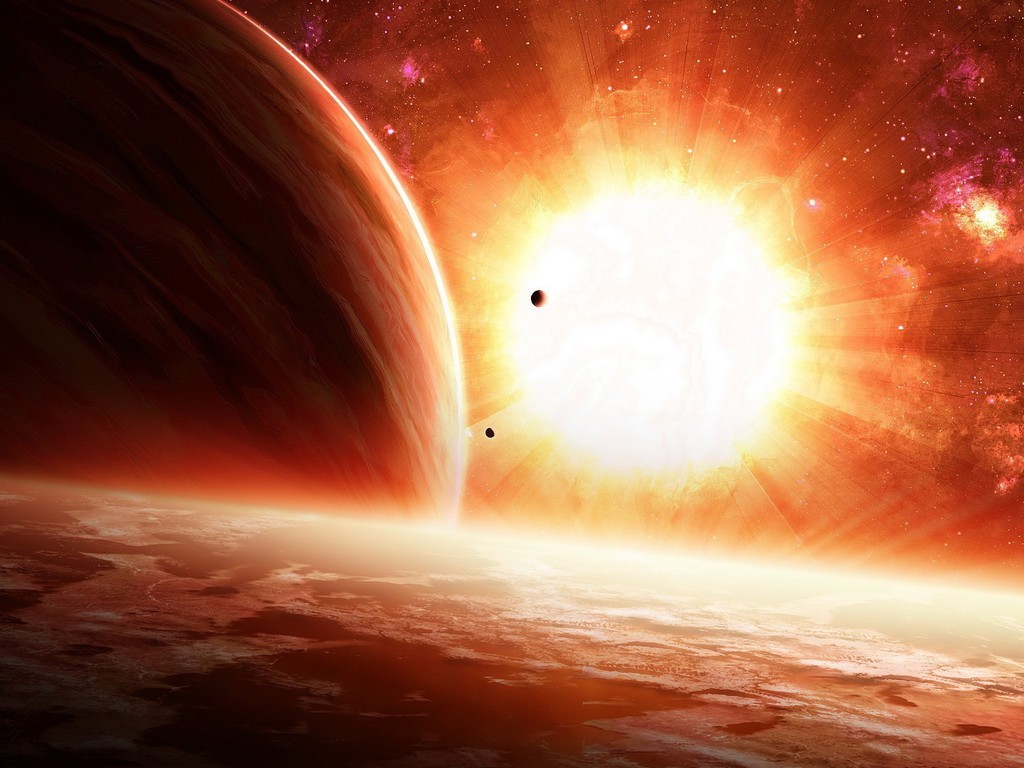 Sun bright outer space planets stars wallpaper for Outer space planets