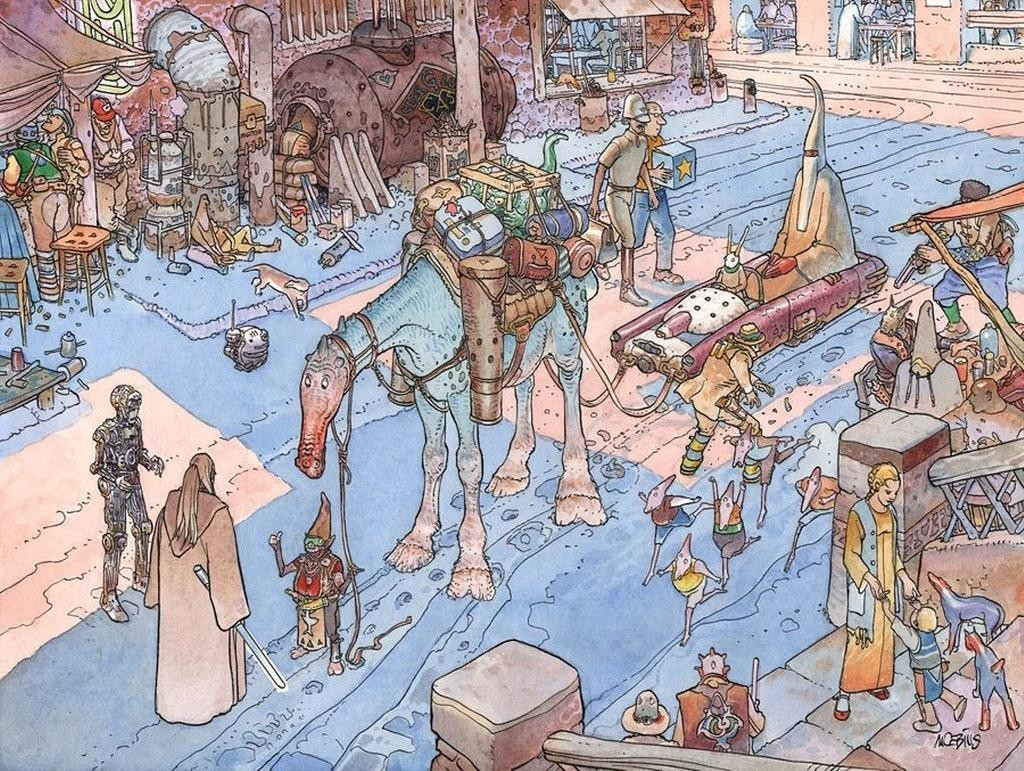 Eisley traditional art moebius qui-gon jinn cities wallpaper