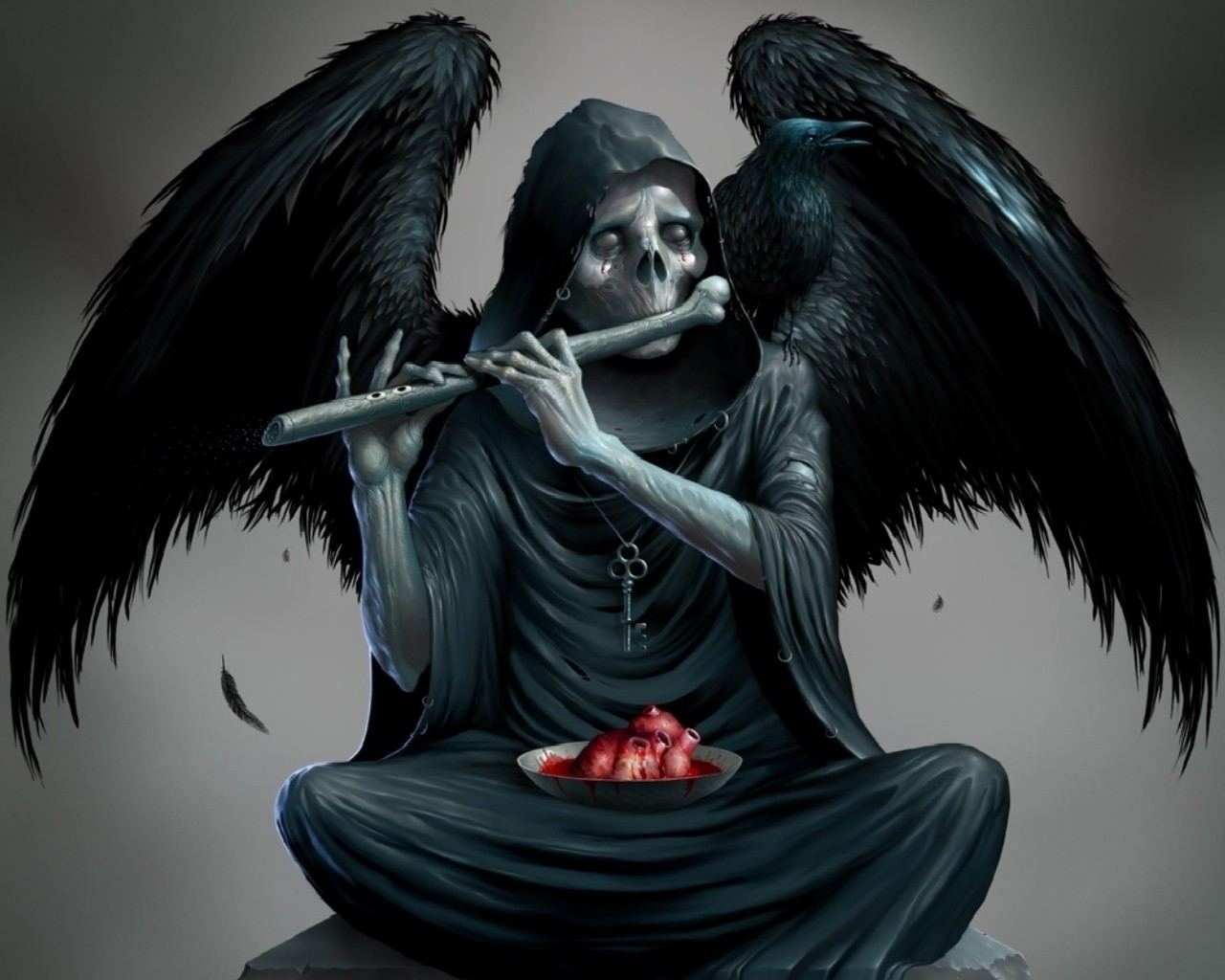 Wings Death Skeletons Sitting Hearts Keys Playing Music