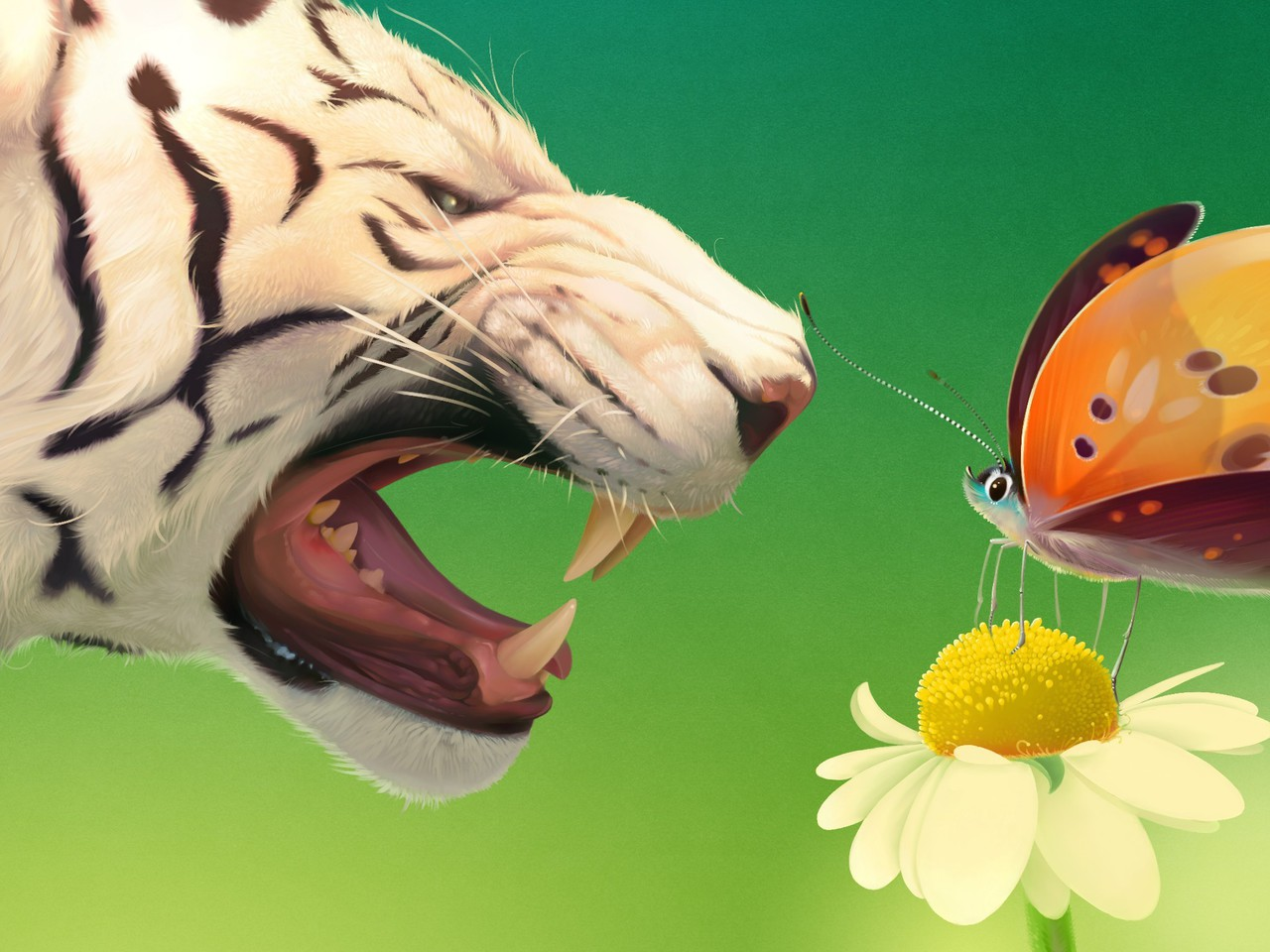 Tiger Art Wallpaper Jpg 960 800: Tigers Digital Art Artwork Butterflies Wallpaper