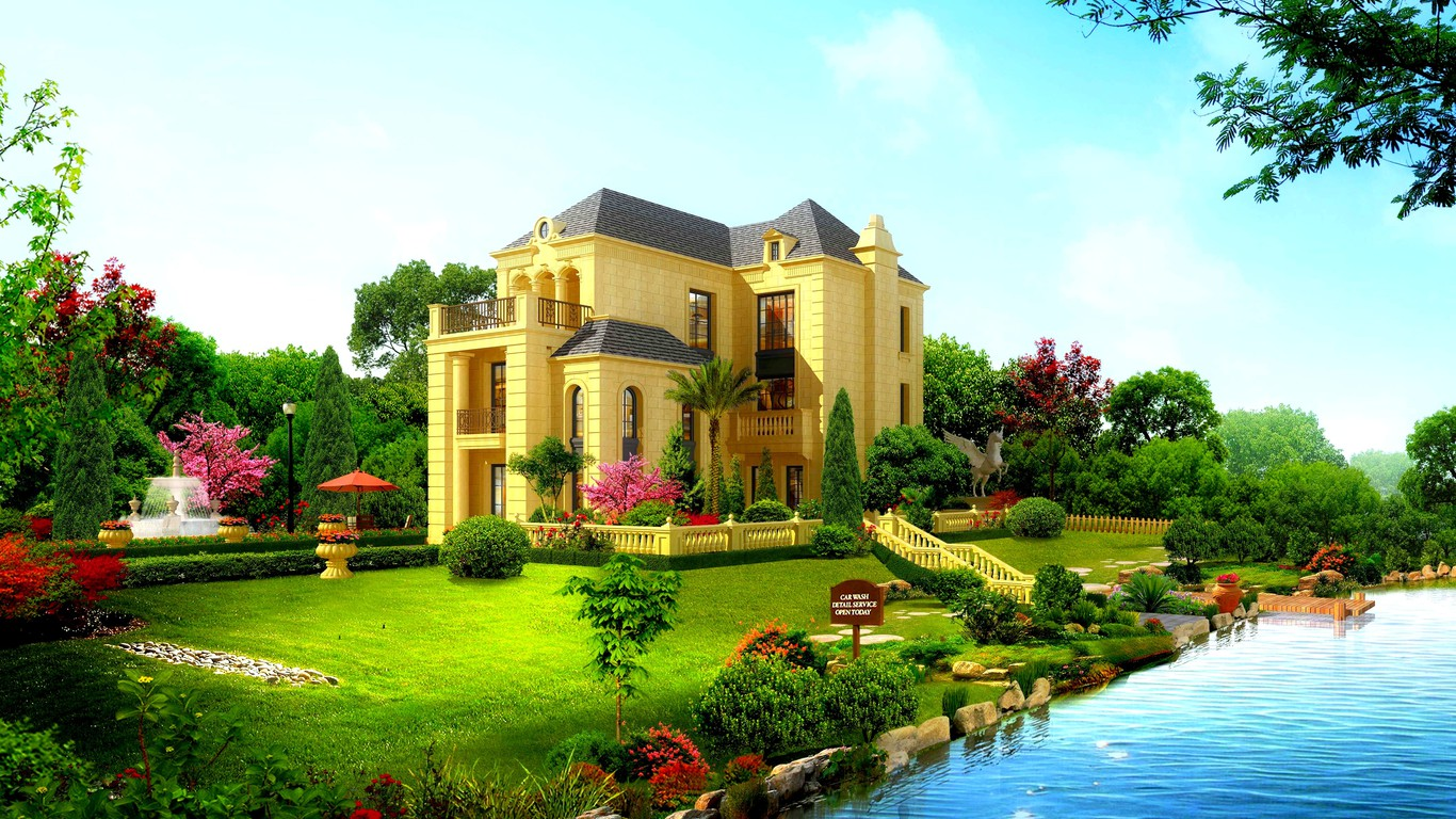 Beautiful Garden Pictures Houses: Beautiful House Wallpaper