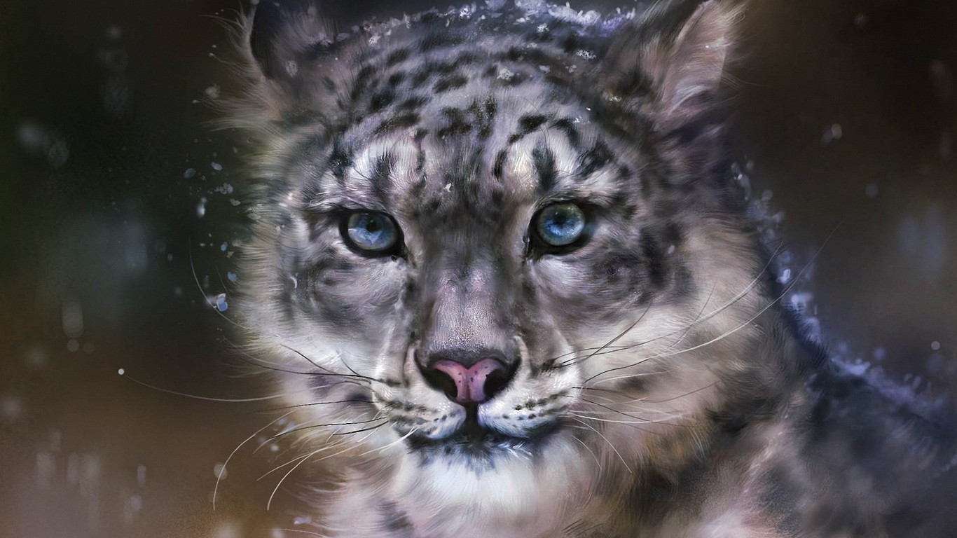 Snow Leopard Art Wallpaper