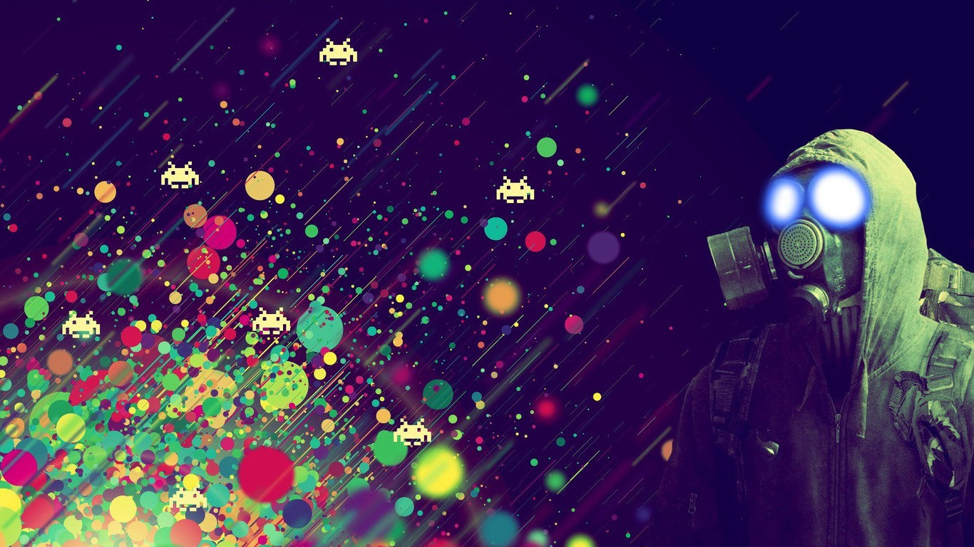 Games gaming gas masks light outer space wallpaper for Space wallpaper 1366x768