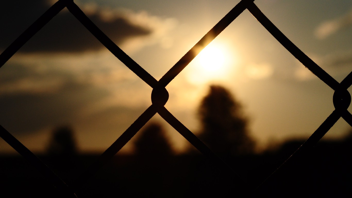 Chain Link Fence Wallpaper: Blurred Background Chain Link Fence Fences Silhouettes