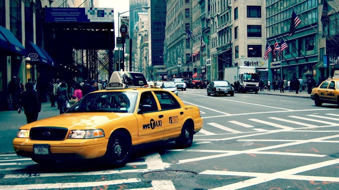 Streets New York City Taxi Wallpaper